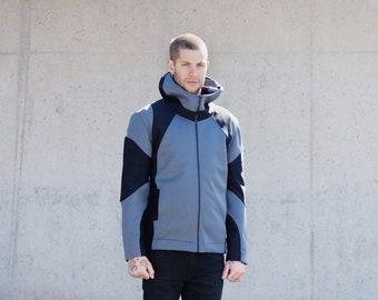 NEOPRENE HOODED JACKET/Zippered neoprene sweatshirt with pockets/gray-black
