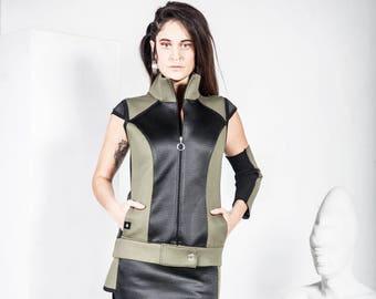 WOMEN'S SET/ Set of Neoprene Vest and Skirt asimetric/ WOMEN'S jacket and skirt set