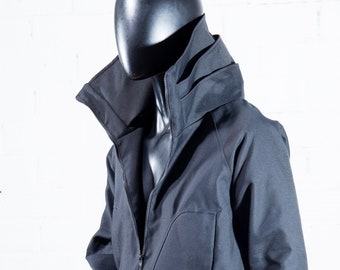 UNisex Winter Jacket ABRIGADA / Black CORDURA Jacket / Lined / Waterproof and resistant/ORIGINAL and wide collar with folds.