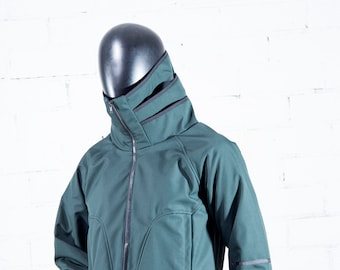 UNisex Winter Jacket ABRIGADA / Waterproof and Windproof SHOFTSHELL Jacket/Jacket with an ORIGINAL and wide collar with folds.