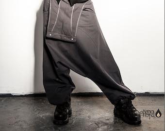 Very low crotch JUMPSUIT/OVERALLS / HAREM pants/ Extravagant Drop Crotch Pants / Side Pockets Trousers