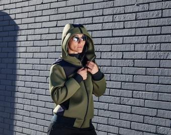 Very warm NEOPRENE PUMPER JACKET/ Green coat unisex/ Jacket with hood  and /Winter jacket / Windbreak and water repellent coat
