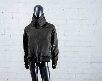 UNisex Winter Jacket ABRIGADA / Black SARGA Jacket/Lined jacket, thick and sturdy/ORIGINAL and wide collar with folds.