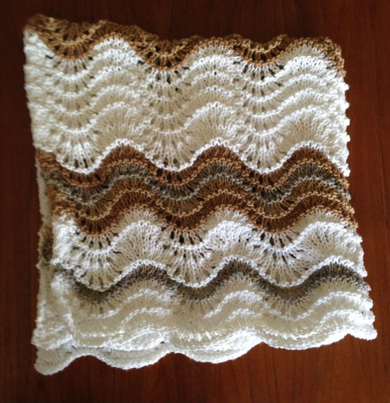 Cotton and Bamboo Yarns All Natural Fibers. Baby Blanket Tan /& Grey Wavy Stripes Pattern Hand Knit White