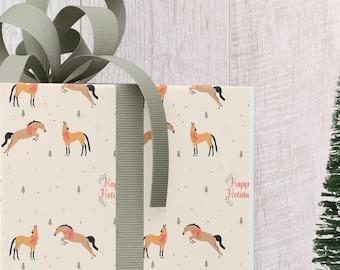 Festive Horses in Scarves Gift Wrap