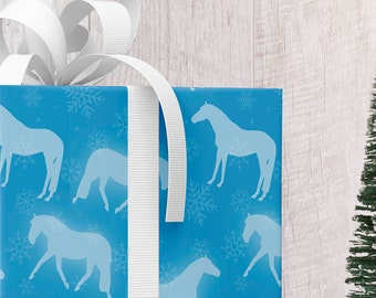 Snowflake Horses Wrapping Paper