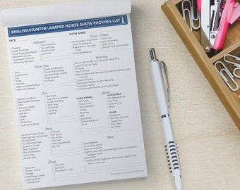 Horse Show Packing Checklist Notepad