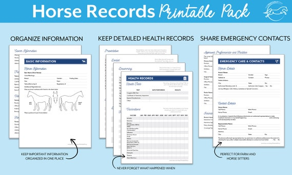 picture relating to Printable Records referred to as Horse Information Printable Pack, Custom-made, Electronic Down load