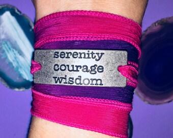Serenity prayer bracelet - Bohemian wrap bracelet with serenity prayer words - Strength Courage Wisdom bracelet