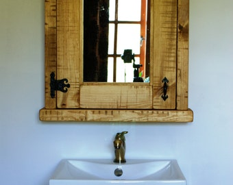 Bathroom Washstand and Cabinet Mirror set Hardwax Oil Light/Dark Oak