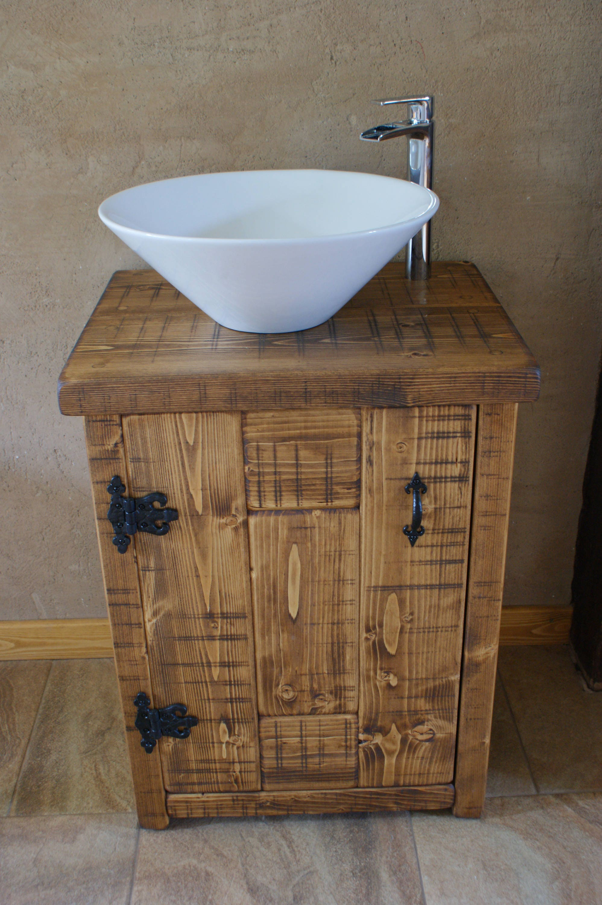 New Chunky Rustic Solid Wood Bathroom Basin Sink Vanity