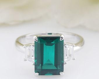6aa2de15b87fc Pave emerald ring | Etsy