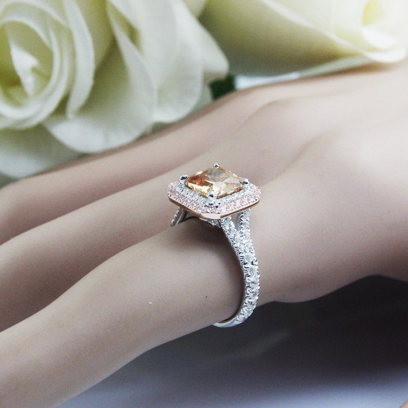 7mm Princess Cut Brilliant Champagne Simulated Diamond Fancy Color Diamond Engagement Ring,14K GOlD Halo Style Pink Simulated Accents Female