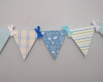 Little Boy Blue Nursery Mini Paper Pennant Banner / Baby Boy Shower Decoration / Paper Bunting Garland
