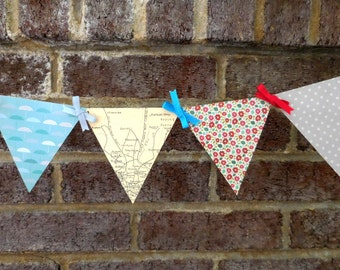 London Map Paper Pennant Banner Decoration for British-Themed Parties and Room Decor