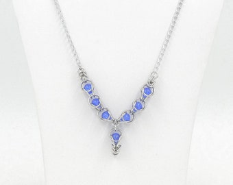 Necklace, Blue Crackle Czech Beads Captured in Bright Aluminum Chainmaille Necklace