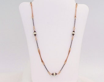 Neckace, Hammered Copper and Riverstone Chain Necklace