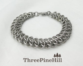 Bracelet, Stainless Steel Handwoven Chainmaille Great Southern Gathering (GSG) Bracelet