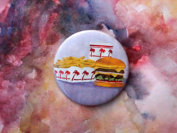 In N Out in and out Burger tie tack Hat Pin Pinback