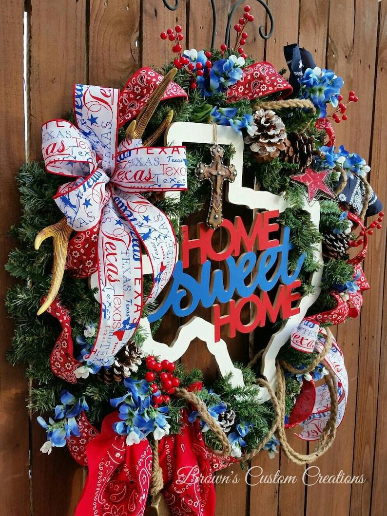 Red White Blue Texas Wreath Red Bandana Ribbon Wreath- Western Cowgirl Cowboy Wreath Country Chic Wreath Home Sweet Home Wreath