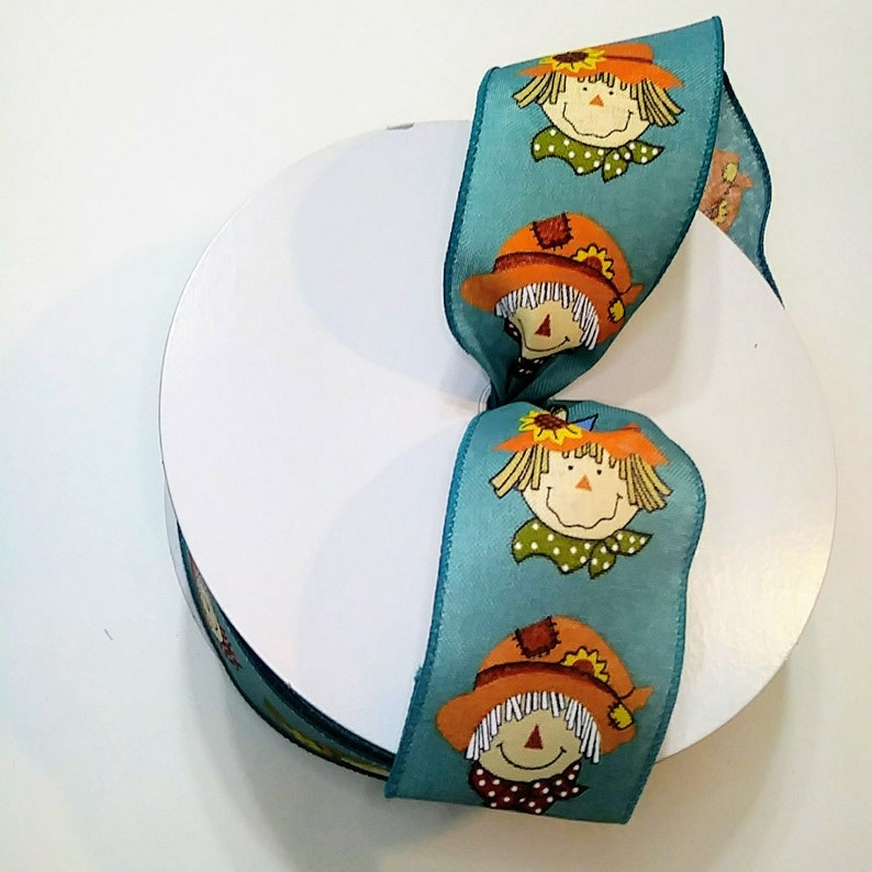 Turquoise Fall Scarecrow Wired Ribbon Wired Ribbon for Wreaths
