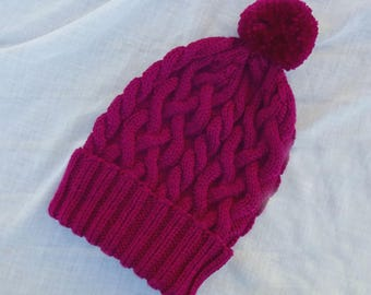 Cable Knit Hat, Ski Hat, Knit Toque, Red Purple Beanie, Pom Pom Hat, Wine Winter Hat, Acrylic Wool Blend Hat, Mens Hat, Womens Hat, Teen Hat