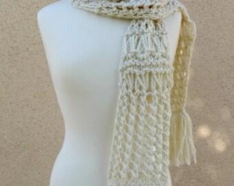 Knit White Scarf, Chunky Scarf, Drop Stitch Scarf, Big Lace Scarf, Cream White Scarf, Fringe White Scarf