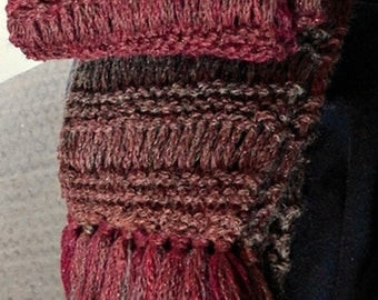 Knit Scarf, Drop Stitch, with Fringe, Stripe Red Brown Metallic Accent