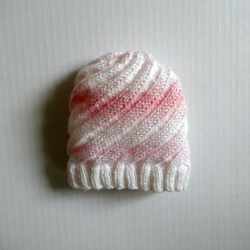 e6a1170f12a Knit Baby Hat Knit Swirl Hat Pink White Hat Hat Up to 12