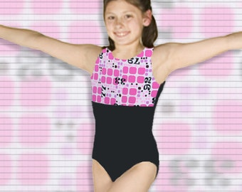 Gymnastics Girls Leotard Child size 2 4 6 7 8 10 black pink white geometric design New Youth sleeveless tank leo