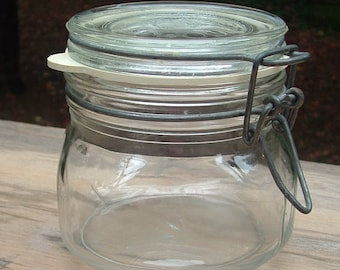 ZERO SHIPPING! Vintage Italian Glass Jar w/Wire Bale & Gasket - Hermetically Sealed - Made in Italy