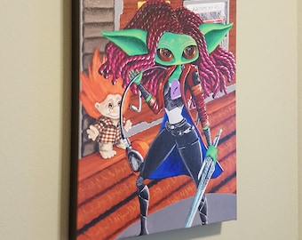 """Some unspoken thing  – 12x16"""" Repro on Canvas – Inspired by Gamora from Guardian's of the Galaxy - MuseArt"""