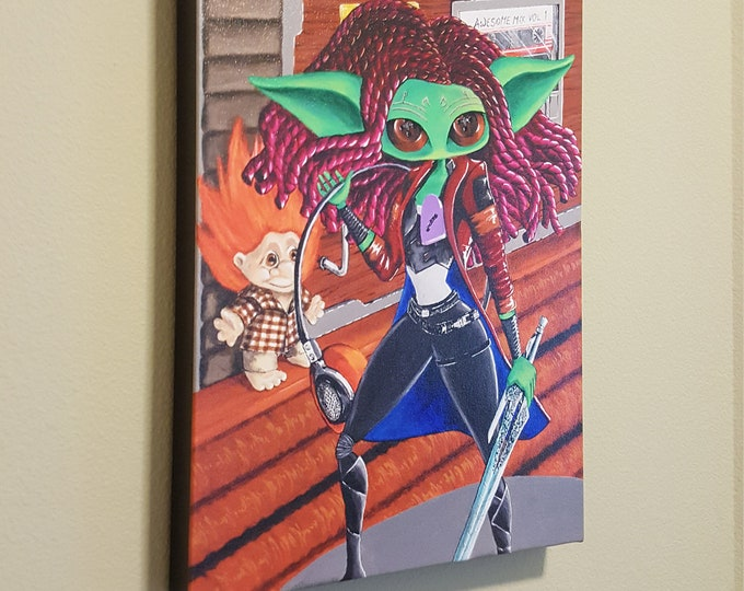 "Some unspoken thing  – 12x16"" Repro on Canvas – Inspired by Gamora from Guardian's of the Galaxy - MuseArt"