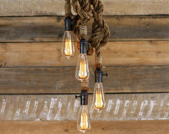 The Hydra Chandelier - Industrial Manila Rope Pendant Light - Swag Ceiling Lamp - Accent Hanging Lighting - Rustic Modern hanging Fixture
