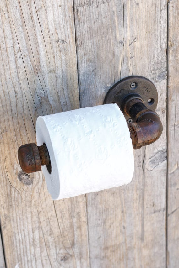 Rust Holder Industrial Pipe Toilet Paper Holder Bathroom Etsy