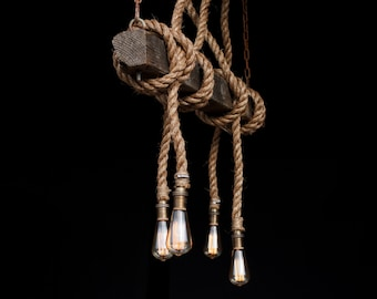 The AHAB-4 - Industrial Rope Light - Barn Beam Pendant - Wood Ceiling Chandelier - Accent Hanging Lighting Rustic Edison Bulb