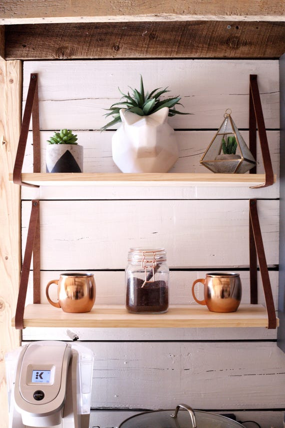 The Ferrel Shelf Pine Wood Hanging Shelves Leather Strap Wood Shelving Rustic Wall Bookshelf Modern Floating Mantle