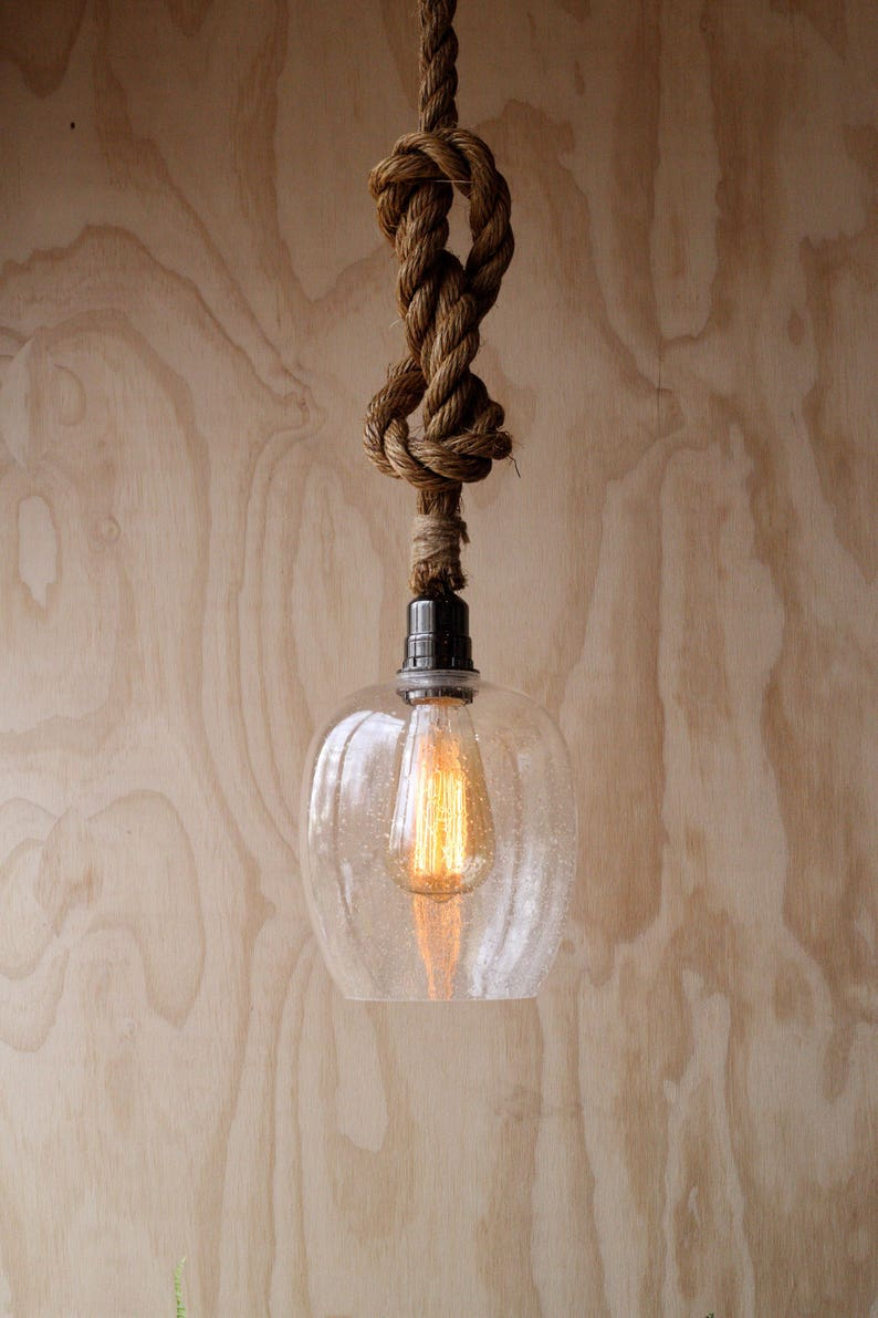 Swag Luminaire Plafond Moderne Verre La Suspension Peuplier De Lampe Nuance Accent Industriel Graines Corde Rustique E92WHDI