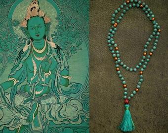 GREEN TARA MALA long jade necklace // Bodhi seed / Silk tassel / hematite / jade in sea green / Yoga Necklace / Yoga Mala
