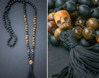 KALI MALA long necklace with a carved ox SKULL // skull pendant with tassel / lava beads // hindu mala 108 bead mala / Yoga Necklace