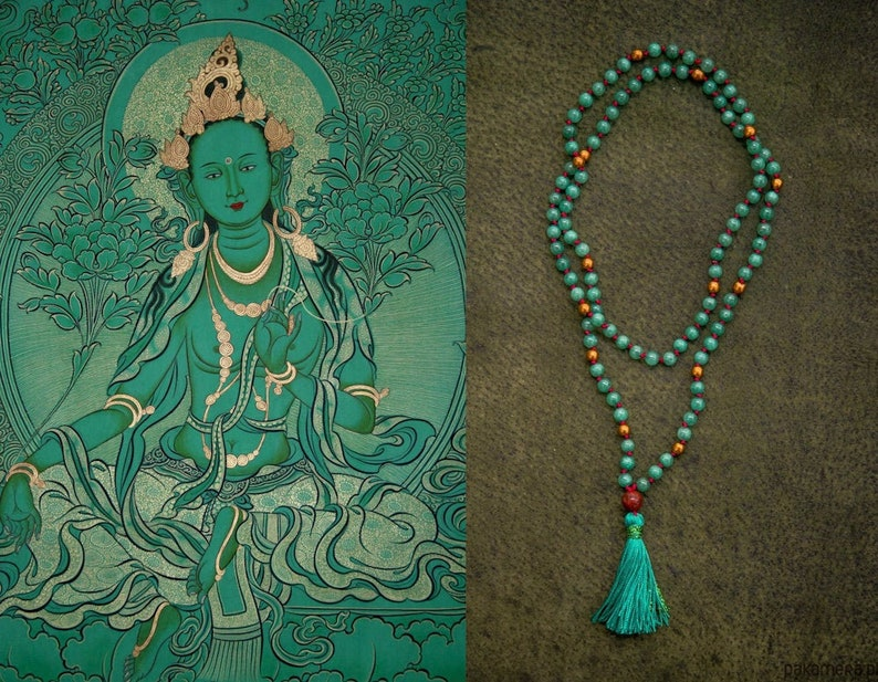 GREEN TARA MALA long jade necklace // Bodhi seed / Silk tassel image 0