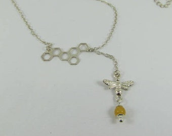 Honey Jade and Silver Honey Bee Necklace
