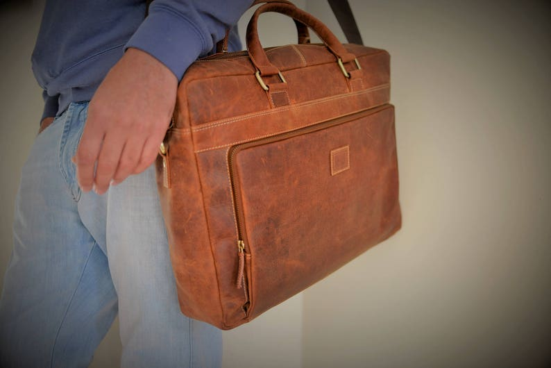 60de6a2500 17 or 15 Inch Leather Satchel   Leather Laptop Bag   Vintage