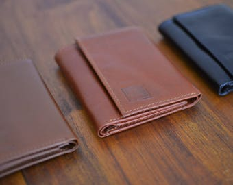 Vegetable Tan Trifold Men's Wallet Genuine Leather Black, Deep Rich Tan, Brown Handmade Leather by Ebb & Flow