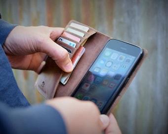 Handmade iPhone 6 Plus, 7 Plus, 8 Plus, XS Max Case Genuine Rustic Nubuck Real Leather by Ebb Flow