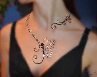 Beauty gift Necklace, butterfly, silver jewelry, copper jewelry,  jewelry set, choker necklaces, gift for her