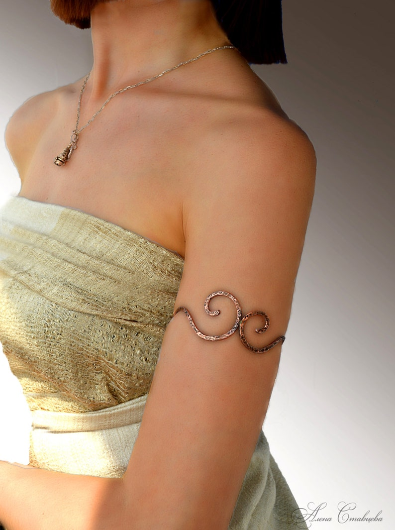 Upper arm wrap gift for her Spiral Upper Arm upper arm cuff copper Jewelry wrapped bracelet choker necklaces