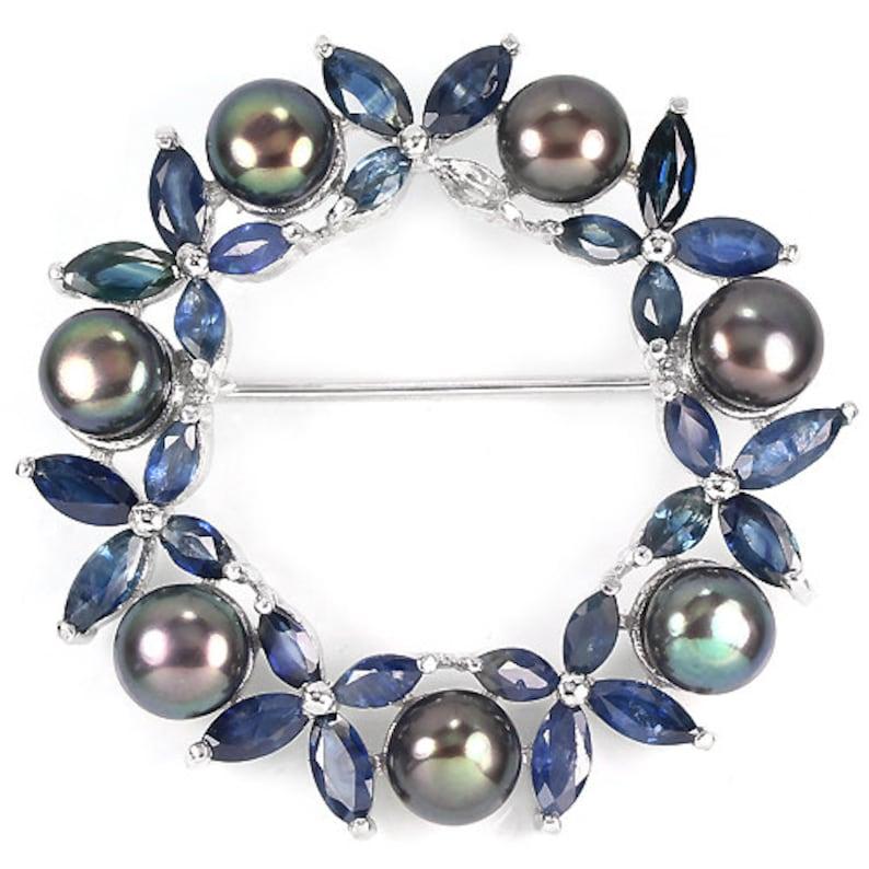 Edwardian Mrs Wallis Simpson White Gold Vermeil Sapphire /& Black Freshwater Pearls Retro Floral Wreath Circular Brooch Truly Venusian