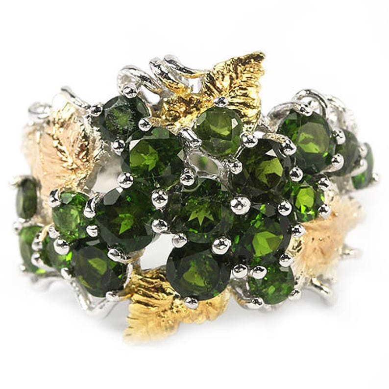 Truly Venusian Yellow and Rose Gold Vermeil Chrome Diopside Grapes /& Vine Leaves Ring Baroque Versailles 14k White USA 7, UK O