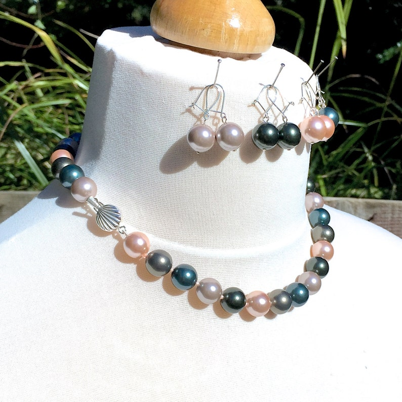 Retro Movie Goddess 925 Sterling Silver Seashell Multicolour 12mm South Sea Shell Pearl Necklace /& Dropper Earrings Set